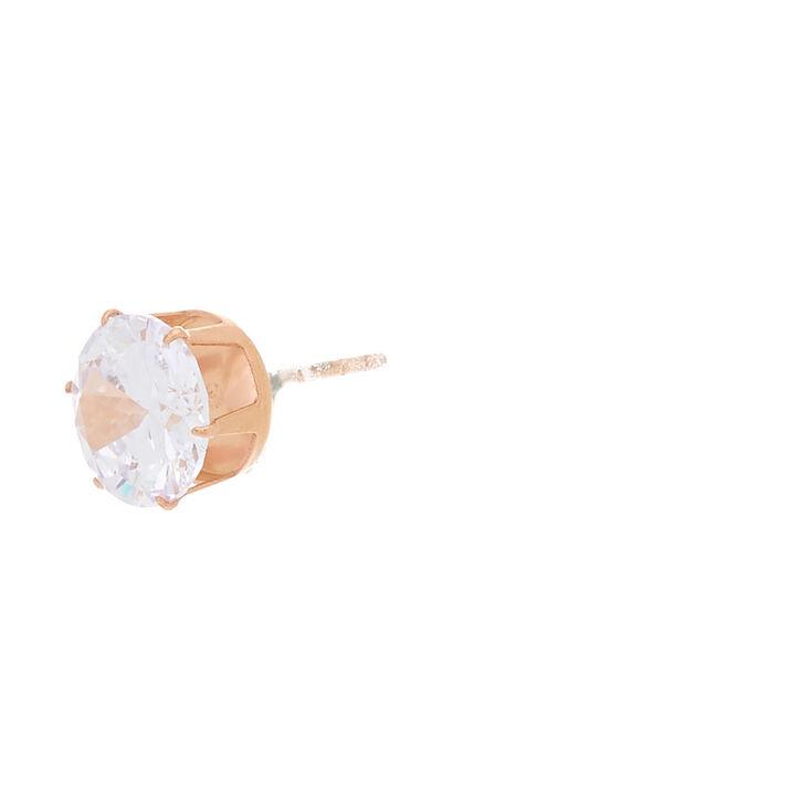 Rose Gold Titanium Cubic Zirconia Round Stud Earrings - 8MM,