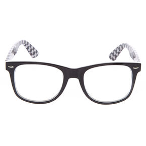 Checkered Retro Clear Lens Frames - Black,