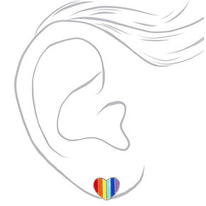 Silver Rainbow Striped Heart Stud Earrings,