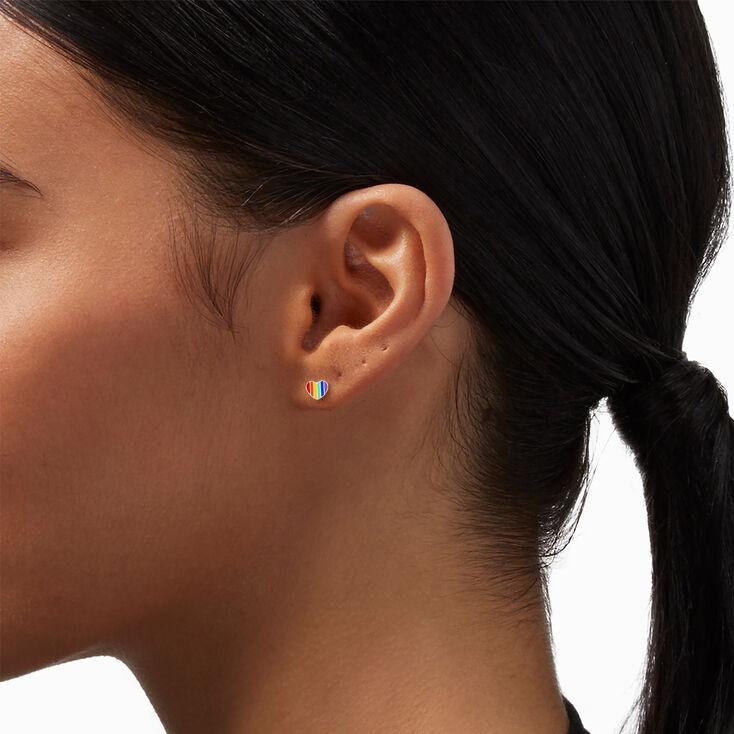 Silver Rainbow Striped Heart Stud Earrings,