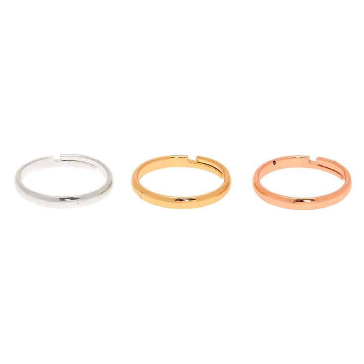 Bagues d'orteil avec anneaux classiques en métaux mixtes - Lot de 3,