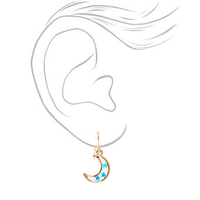 "Gold 0.5"" Confetti Star Moon Drop Earrings,"