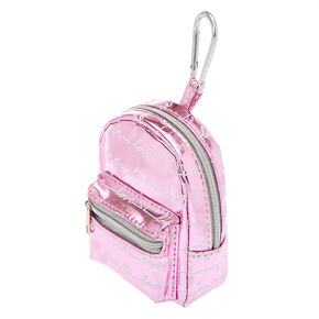 Metallic Love Script Mini Backpack Keychain - Pink,