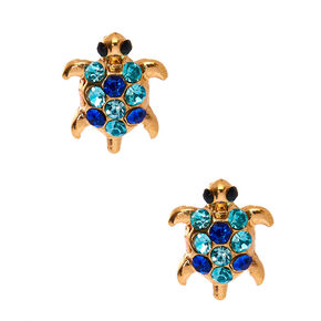 Gold Turtle Stone Stud Earrings - Blue,