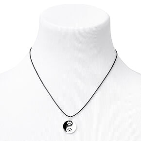 Yin Yang Pawprints Pendant Cord Necklace,