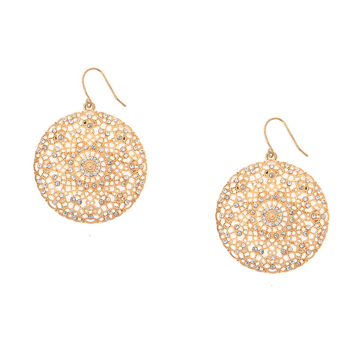 Gold Filigree Medallion With Crystal Drop Earrings