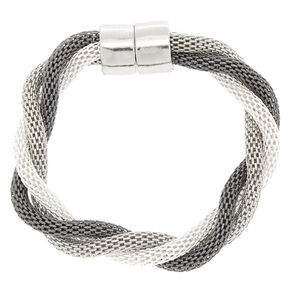 Silver Mesh Twist Bangle Bracelet,