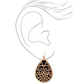 """Gold 2.5"""" Filigree Glitter Drop Earrings,"""