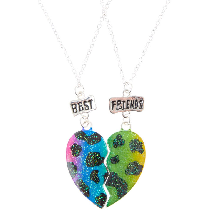 Rainbow Leopard Print Glitter Best Friend Heart Necklaces
