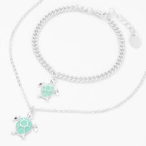 Silver Glitter Turtle Jewelry Set - 2 Pack,