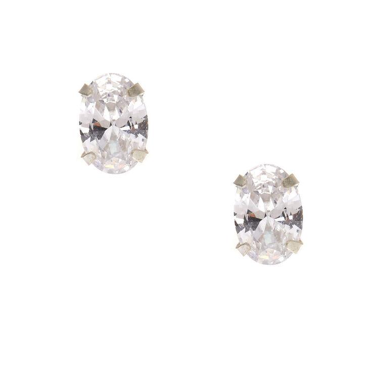 5mm Sterling Silver Oval Cubic Zirconia Earrings