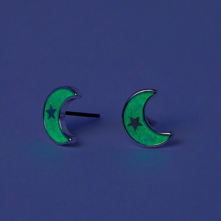 Glow in the dark crescent moon studs