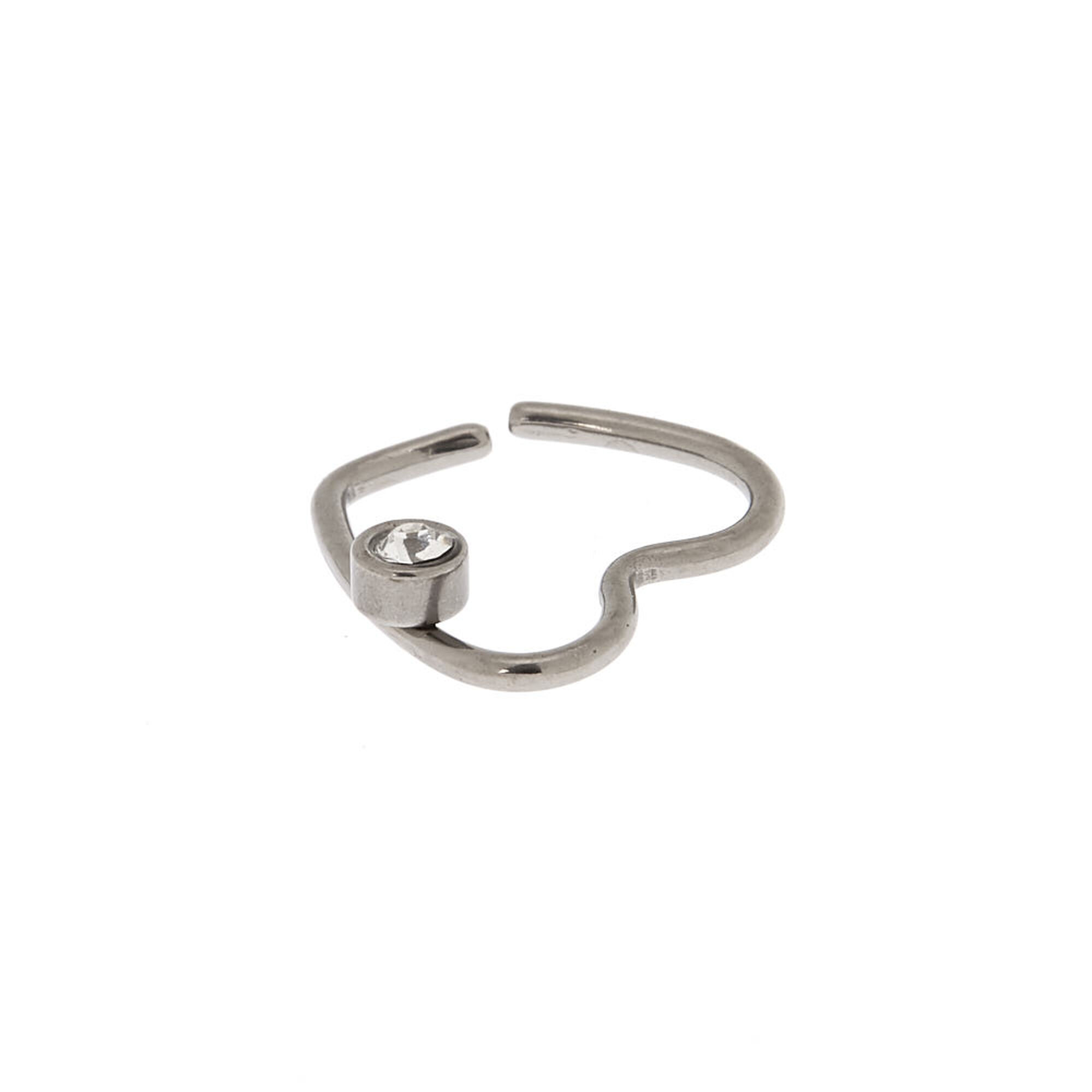 Silver Titanium 18G Heart Cartilage Hoop Earring   Claire's US