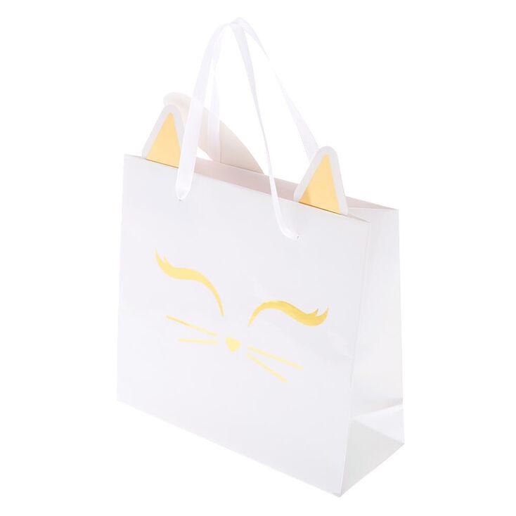 Iridescent Kitty Cat Gift Bag - White,
