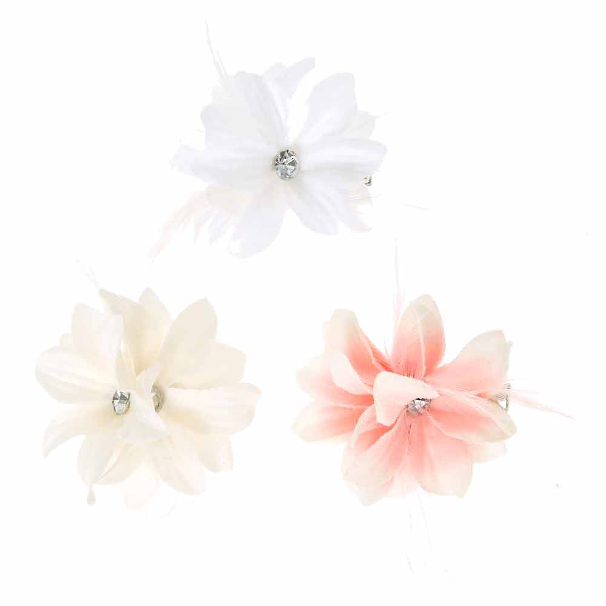 Claires Club Flower Girl Feather Flower Hair Clips 3 Pack