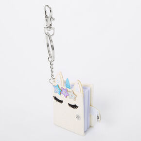 Grace the Unicorn Mini Diary Keychain - White,