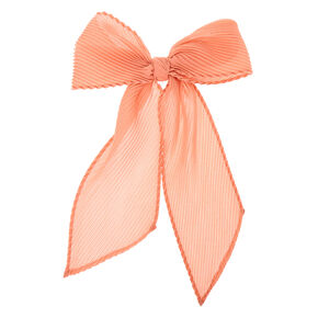 Pleated Chiffon Hair Bow Clip - Pink,