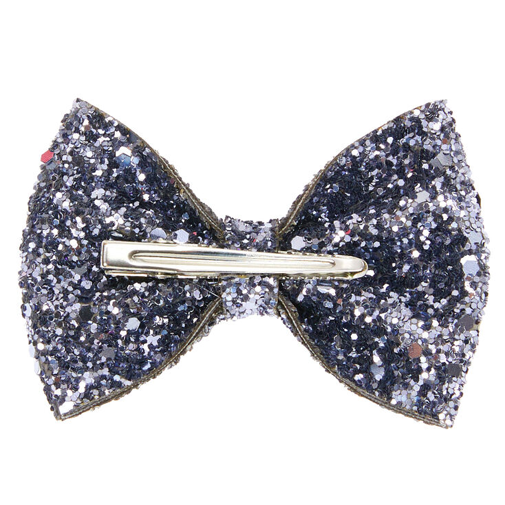 Glitter Mini Hair Bow Clip - Slate Grey,