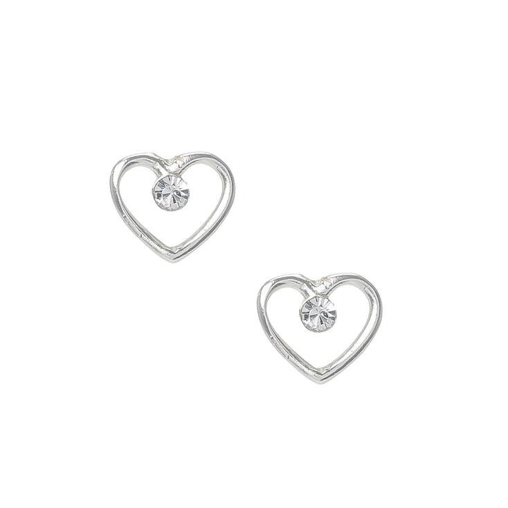 Sterling Silver Heart Outline Stud Earrings,