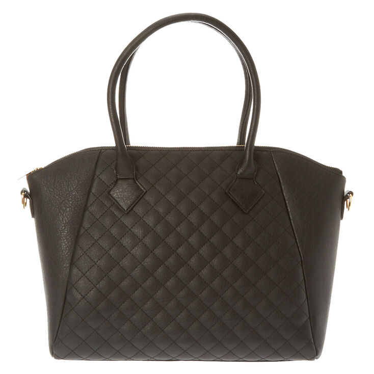 Black Quilted Tote Claires Us