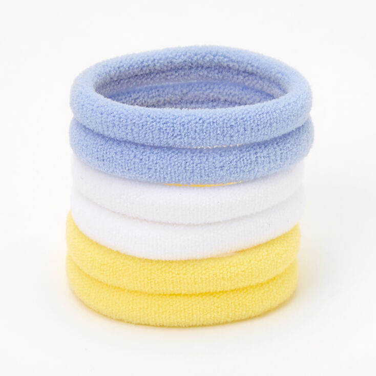 Blue, White, & Yellow Plush Rolled Hair Ties - 6 Pack,