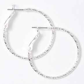 Silver 30MM Textured Hoop Earrings,