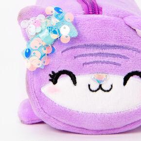 Furry Purple Cat Pencil Case,