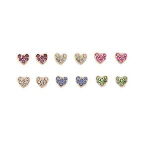 Silver Heart Magnetic Stud Earrings 6 Pack
