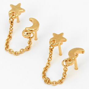 18kt Gold Plated Celestial Connector Chain Stud Earrings,