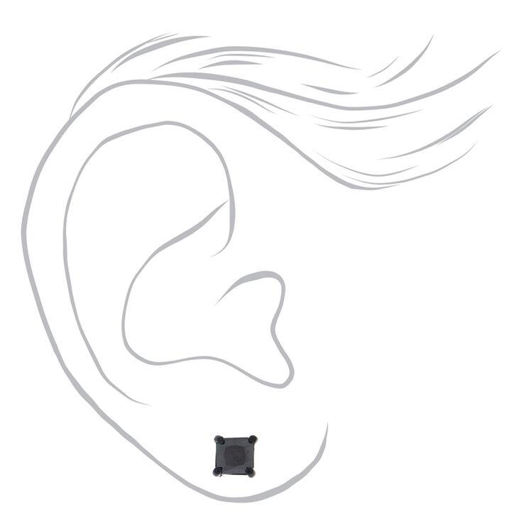 Black Cubic Zirconia Square Magnetic Stud Earrings - 5MM,