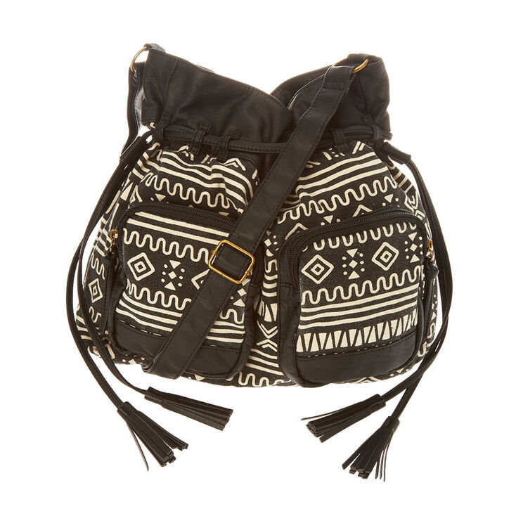 c84fd07e6 Black and White Aztec Bucket Bag | Claire's US