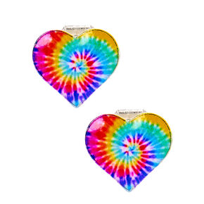 Rainbow Tie Dye Heart Clip On Earrings,