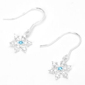 "Sterling Silver 0.5"" Snowflake Stud Earrings - Blue,"