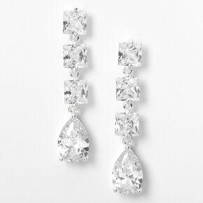 """Silver Cubic Zirconia 1.5"""" Linear Teardrop Tip Drop Earrings,"""