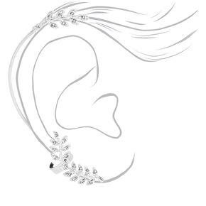 Silver Embellished Leaf Ear Cuff Connector Earring,