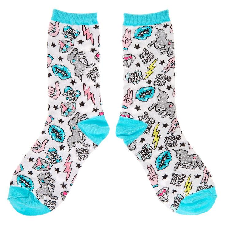 4d531f8d9 Pastel Unicorn & Emoji Crew Socks | Claire's US