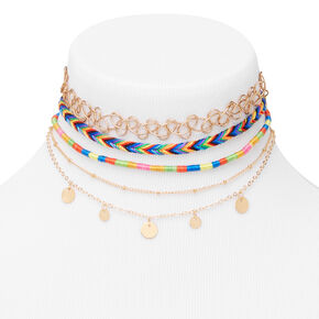 Gold Rainbow Disc Mixed Choker Necklaces - 5 Pack,