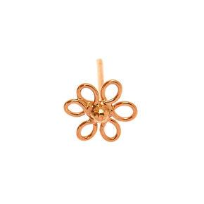 Clou de nez fleur en fil métallique 0,6mm couleur doré rose et couleur argentée,