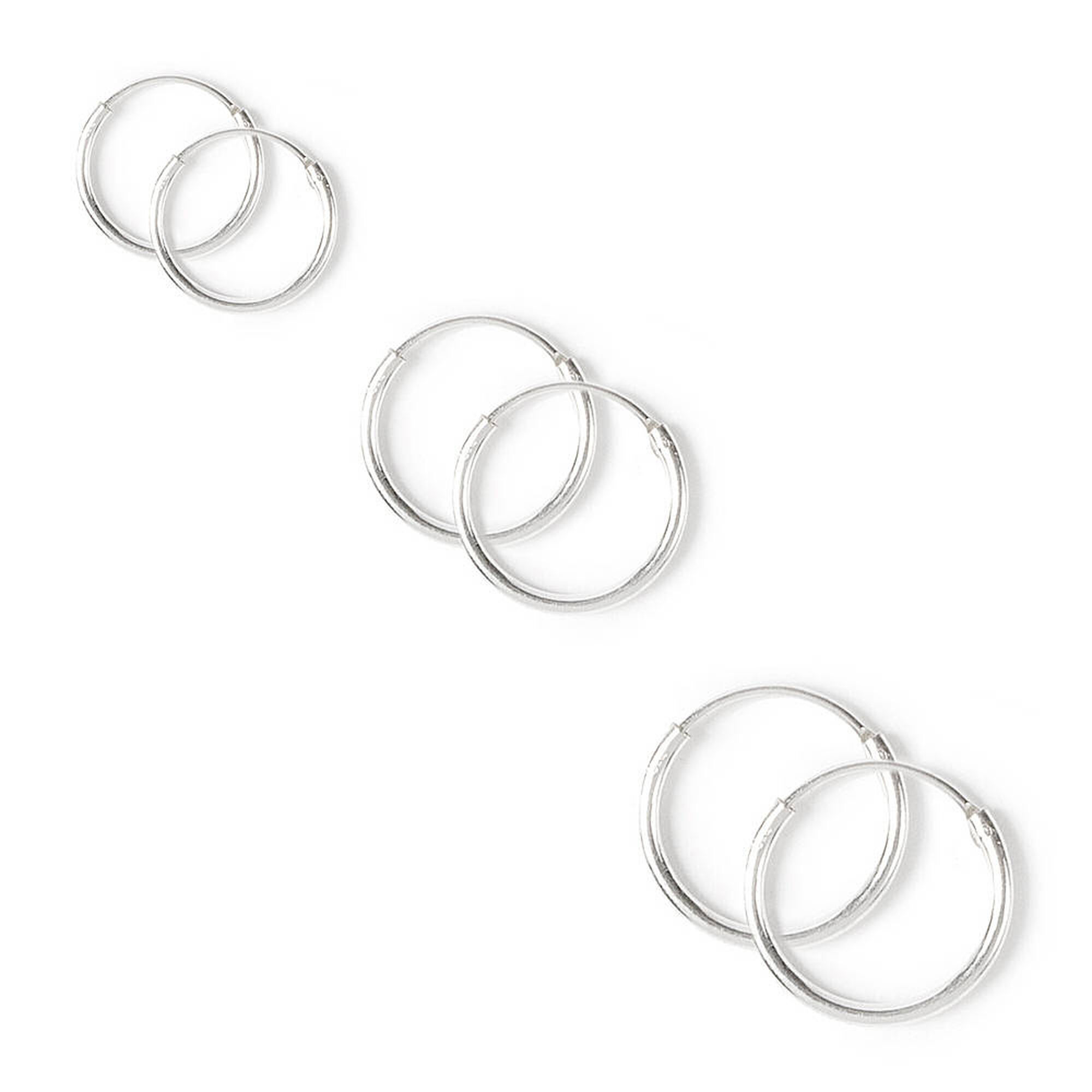10 12 14mm Sterling Silver Endless Hoop Earrings