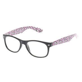 be875a23cc Claire s Club Black   Pink Leopard Print Glasses