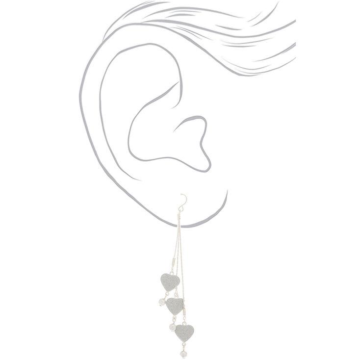 Pendantes cœur à paillettes 10cm couleur argenté,