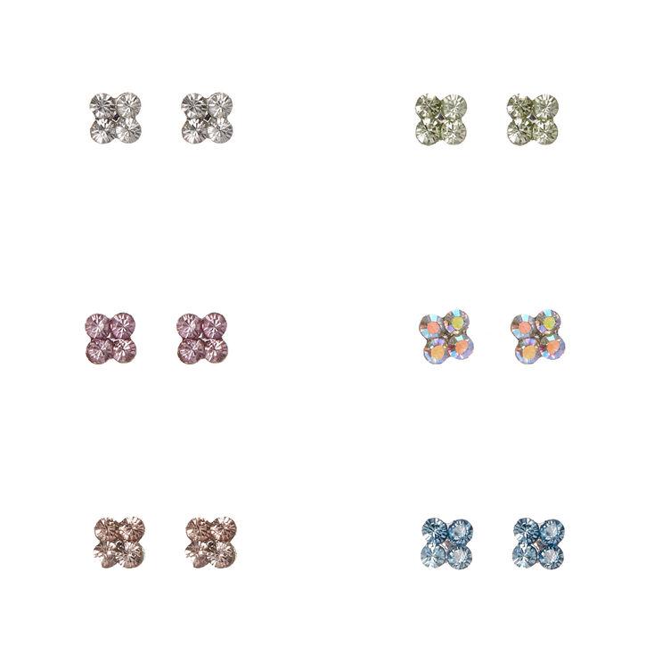 Mini clous d'oreilles à grappes de cristaux pastel,