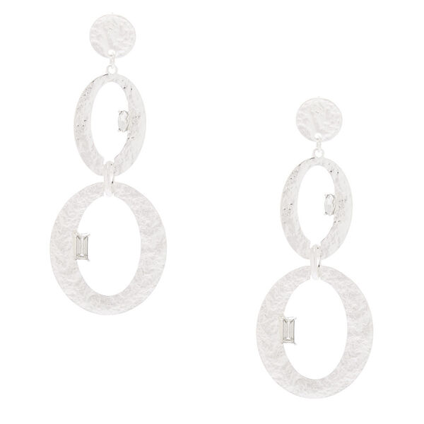 """Claire's - hammered 3"""" oval drop earrings - 1"""