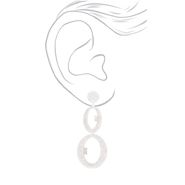 """Claire's - hammered 3"""" oval drop earrings - 2"""