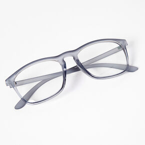 Frosted Retro Clear Lens Frames - Grey,