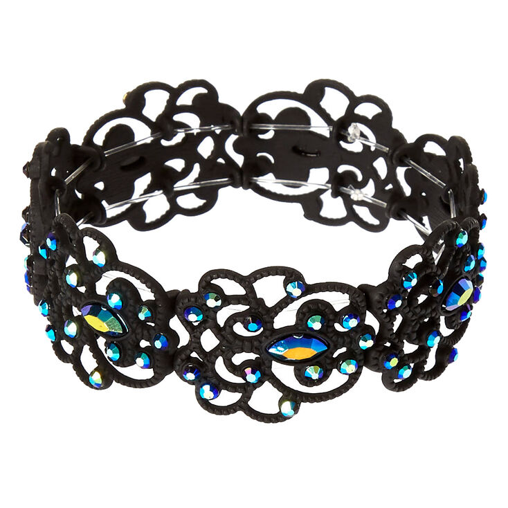 Bracelet élastique filigrane à pierres précieuses noires et bleues,