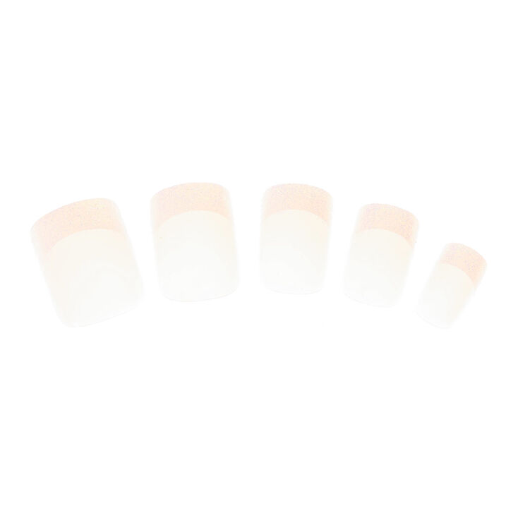 Glitter French Tip Square Faux Nail Set - 24 Pack,