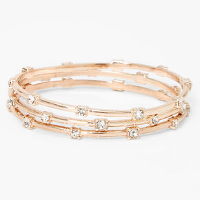 Rose Gold Rhinestone Bangle Bracelets - 3 Pack,