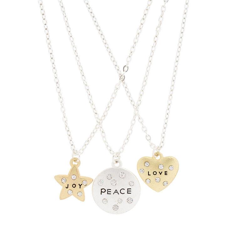 Best friends love peace and joy pendant necklaces claires us best friends love peace and joy pendant necklaces aloadofball Gallery