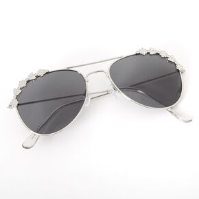 Claire's Club Butterfly Aviator Sunglasses - Silver,